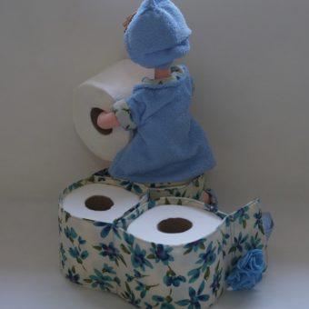 Porta papel higienico boneca Irene azull