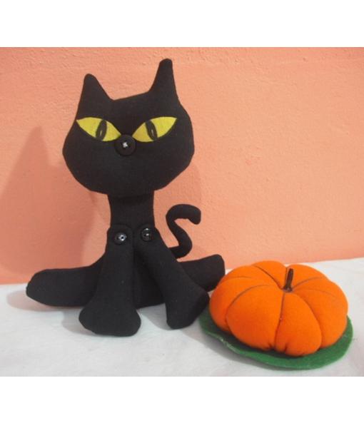 Gato preto abóbora