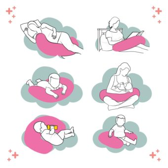 Usando a almofada de amamentação